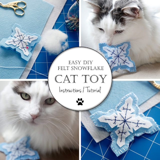 Creativity unmasked diy snowflake felt cat toy because for Felt cat toys diy