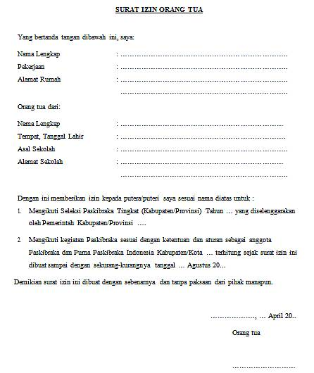 surat izin orangtua untuk mengikuti seleksi anggota paskibraka