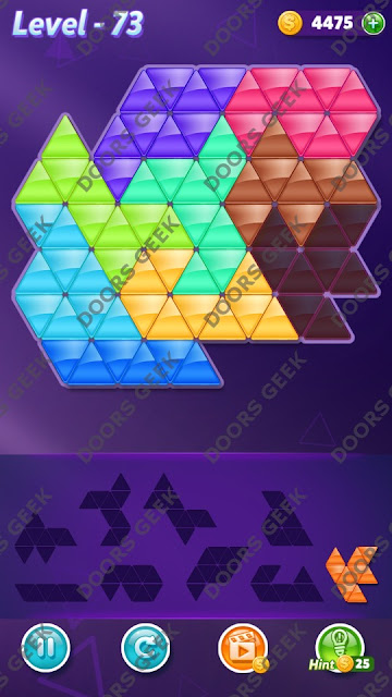 Block! Triangle Puzzle Proficient Level 73 Solution, Cheats, Walkthrough for Android, iPhone, iPad and iPod