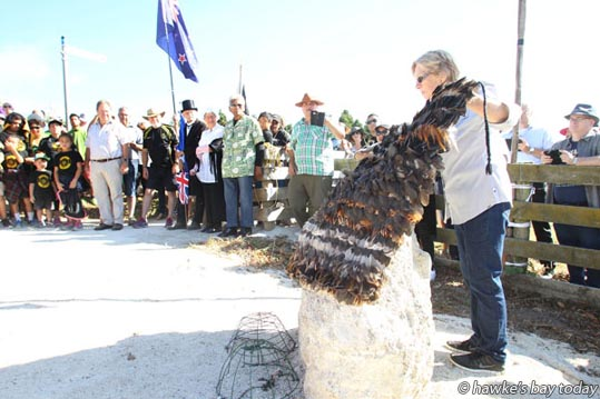 Following a hikoi from Waitangi Regional Park, Marie Edwards unveiled a memorial stone near the Clive River, commemorating the signing of the Treaty of Waitangi by Ngati Kahungunu chiefs and the Crown on board HMS Herald. photograph