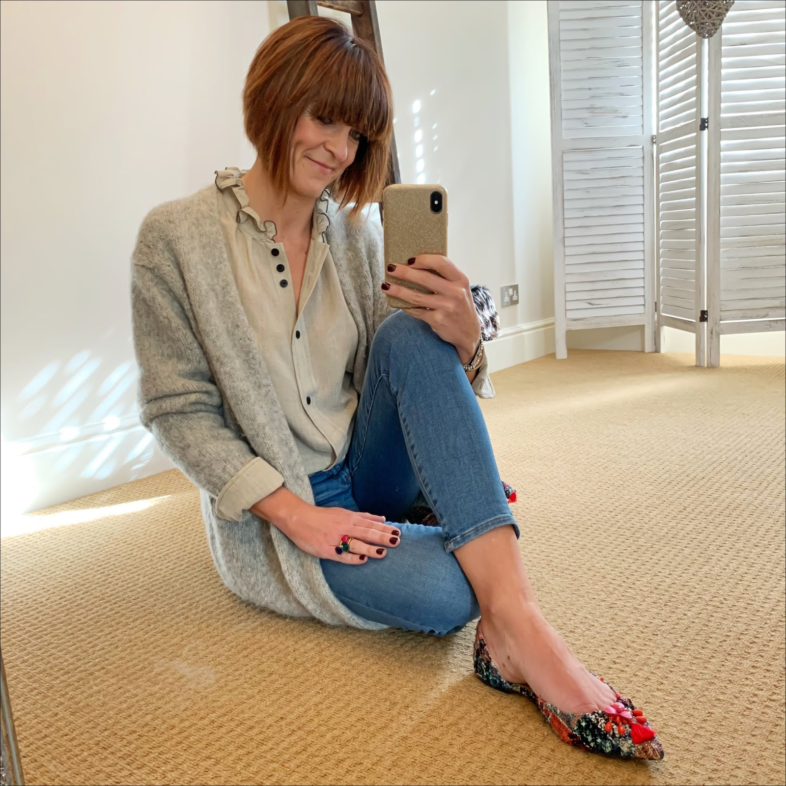 my midlife fashion, isabel marant etoile frill collar linen blouse, acne studios oversized cardigan, j crew 8 inch toothpick skinny jeans, j crew pointed flat tweed tassel shoes