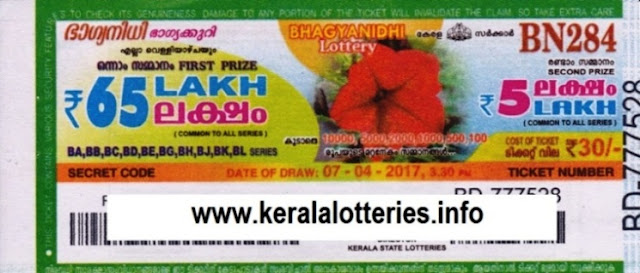 Kerala lottery result live of Bhagyanidhi (BN-241) on 10.06.2016