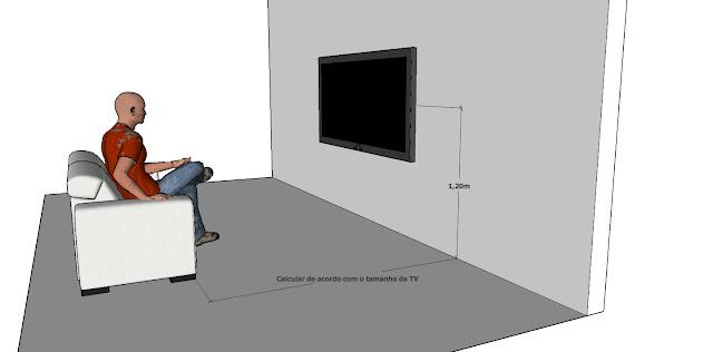 qual a altura para instalar televisão na parede