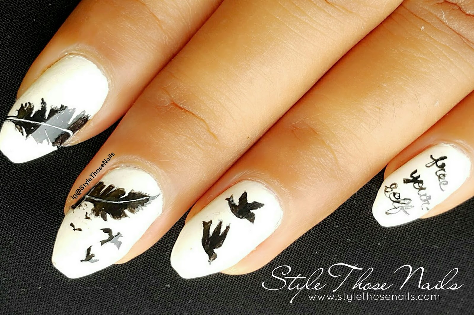 Style Those Nails Tribute To Aneli Feather To Birds Nailart