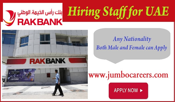 RAK Bank job vacancies in UAE, Semi Government job openings in UAE,