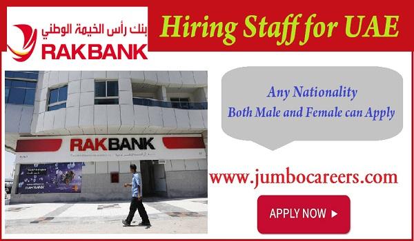 RAK Bank job vacancies in UAE, Semi Government job openings in UAE,