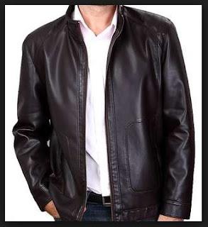 foto jaket bahan kulit ukuran besar model simple untuk laki laki