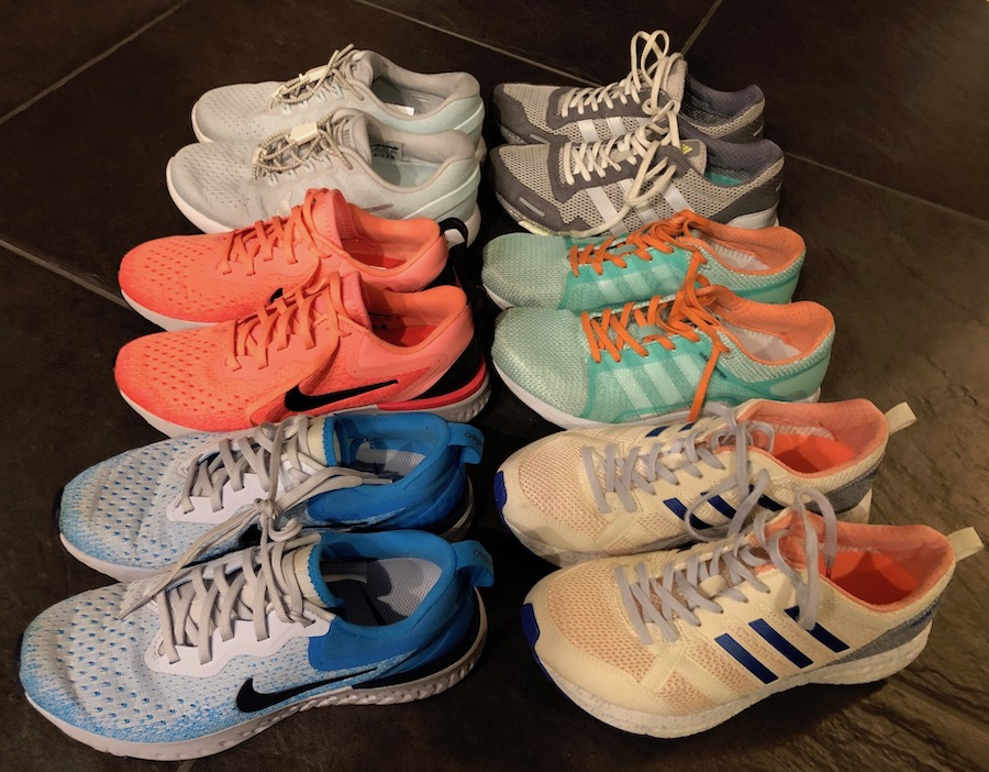 7819075a302a3d You will notice that three pairs are Nike and three pairs are adidas. I  like these brands because they fit my narrow foot.