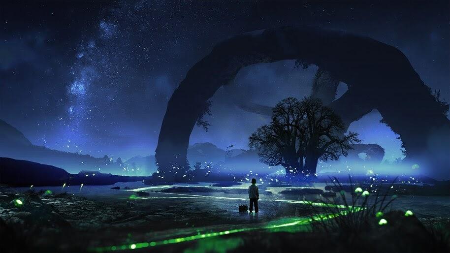 Night, Sky, Beautiful, Scenery, Digital Art, 4K, #6.1045