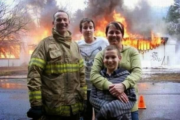 Funny Fireman Family Picture Fail Joke Picture