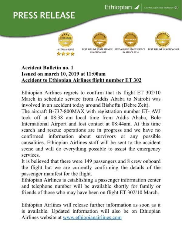 Ethiopian Airlines first statement on crashed Boeing 737 plane