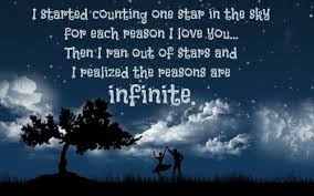 Romantic Good Night Love Quotes: i started counting one star in the sky for each person i love you.