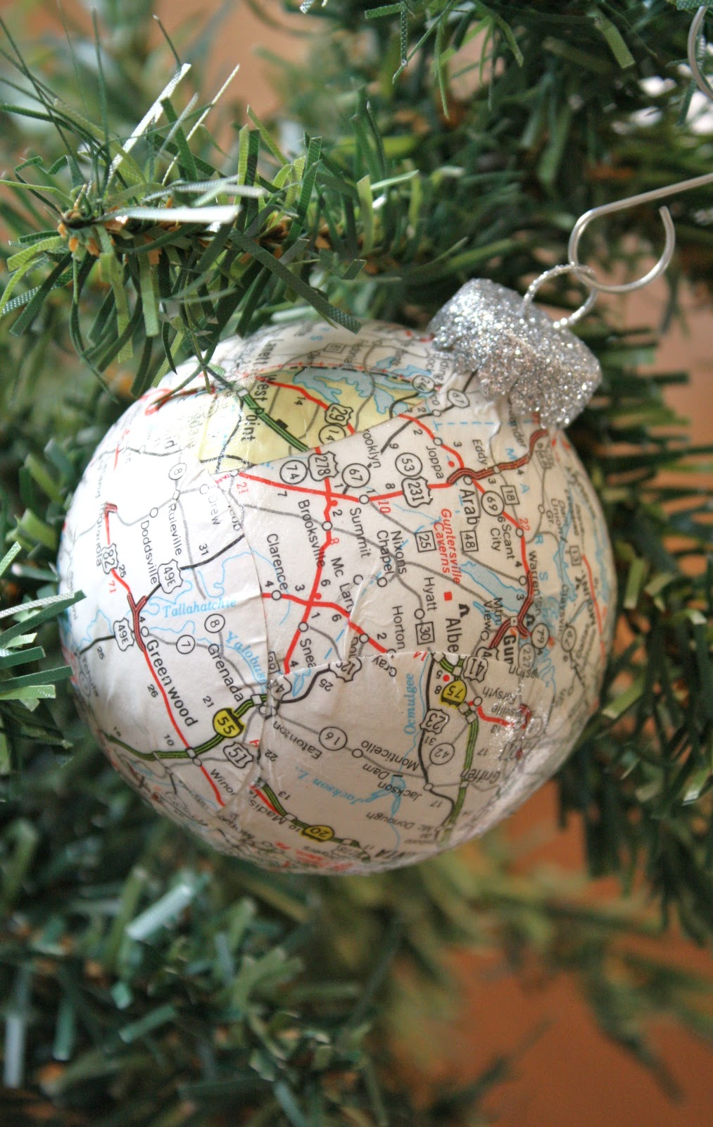 decoupaged ball ornament tutorial