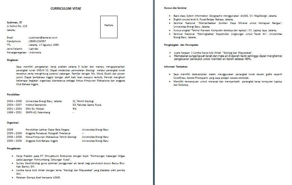 Contoh Curriculum Vitae Dalam Bahasa Indonesia Cv Nabila