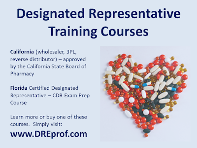 Designated Representative Training Courses - wholesalers, 3PL, reverse distributors (California & Florida)
