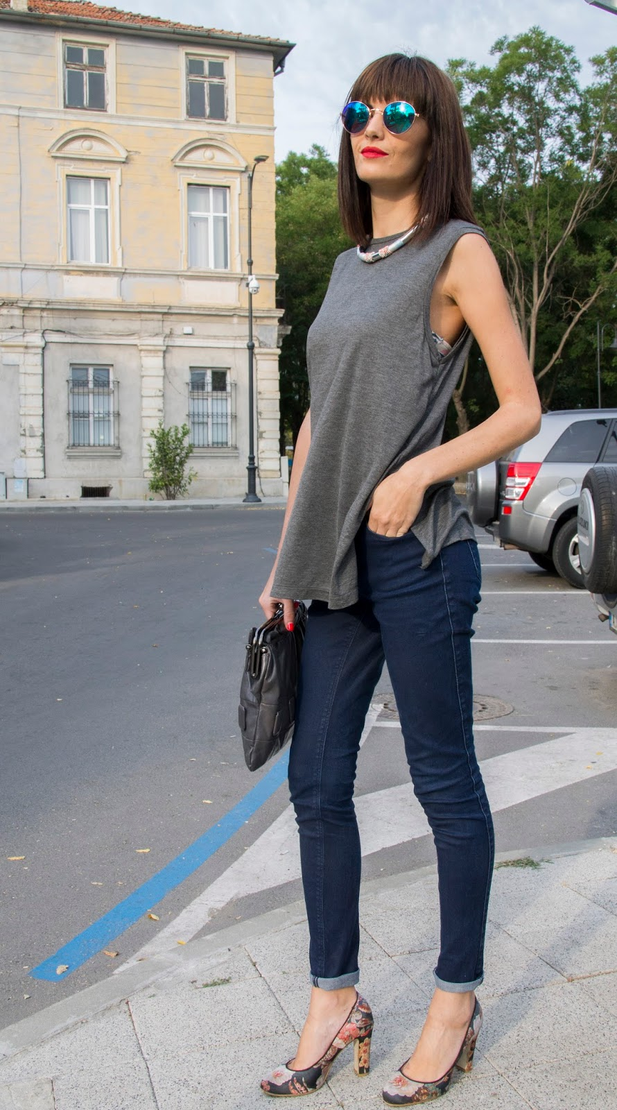 sugar foxy outfit weekend basics h&m gray top 2nd day indigo skinny jeans