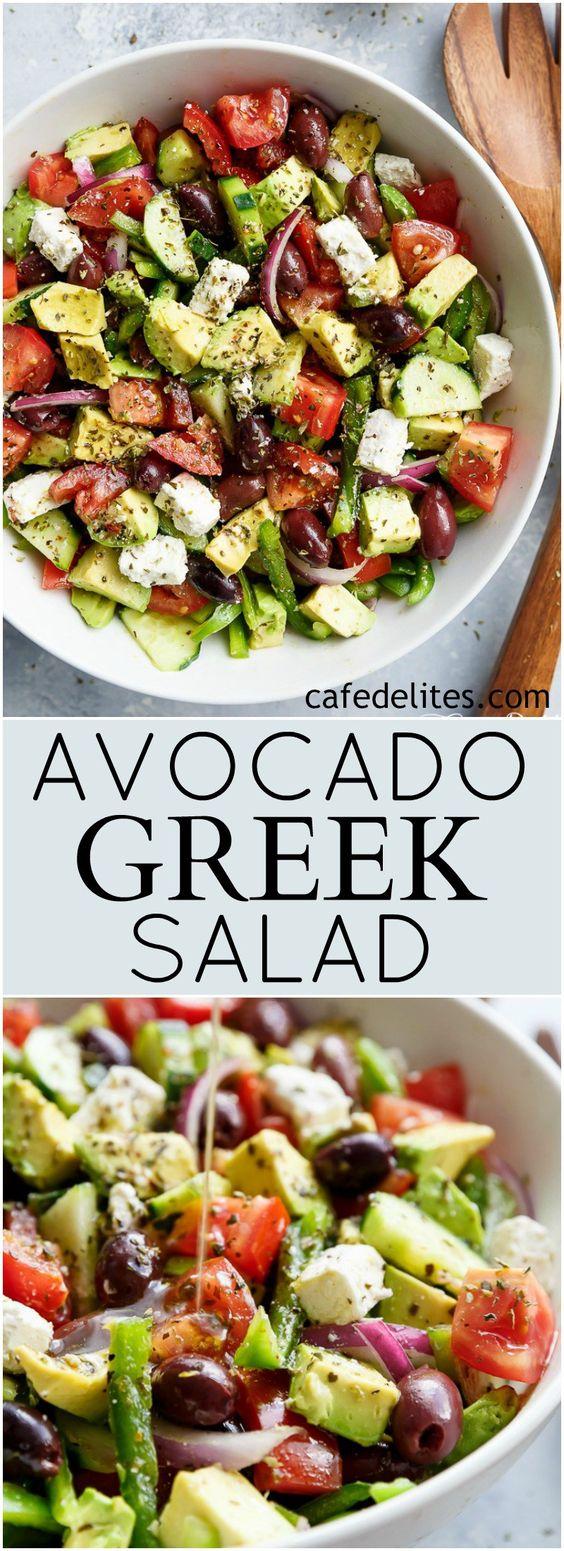 Avocado Greek Salad & Greek Salad Dressing #AVOCADO #SALAD #GREEKSALAD