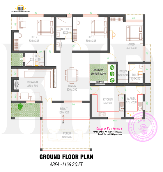 Floor plan of 1000 square feet home