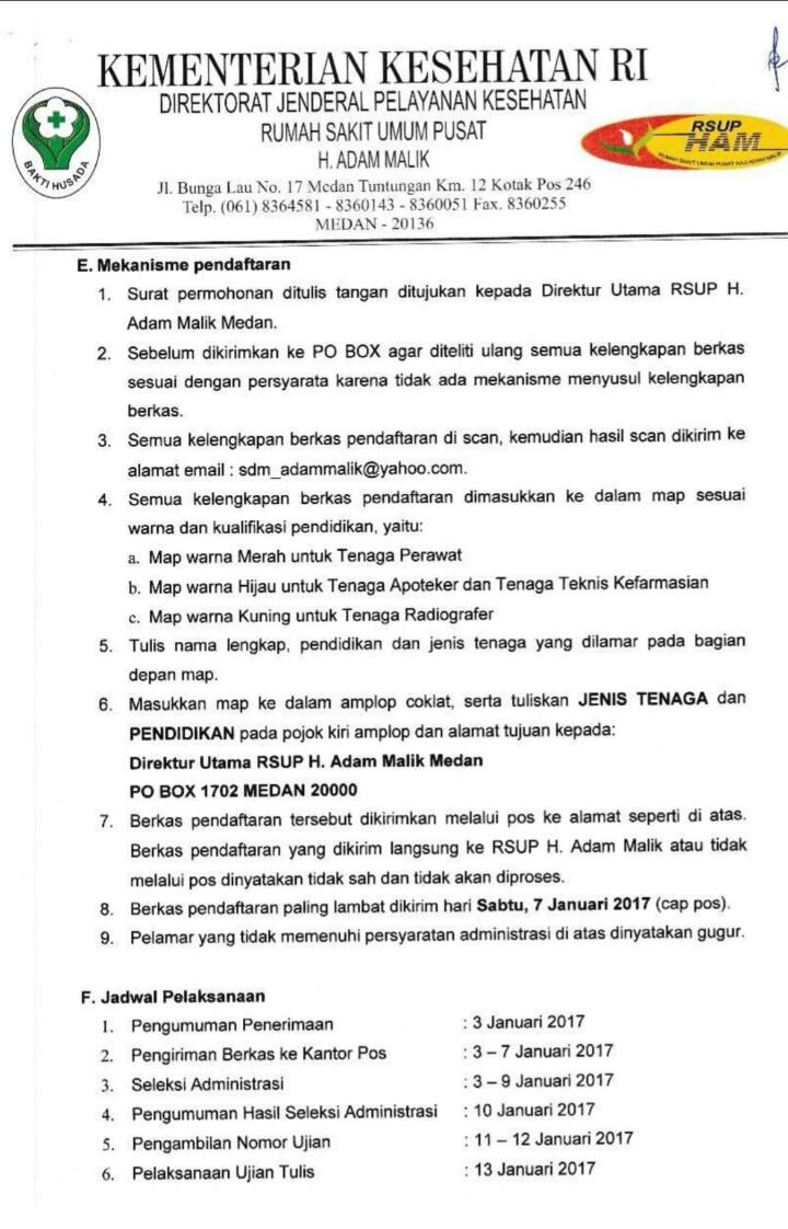 Lowongan Non PNS di RSUP H. Adam Malik Periode I Tahun 2017