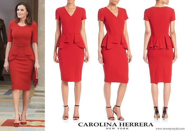 Queen Letizia wore Carolina Herrera Red Peplum Stretch Wool Dress