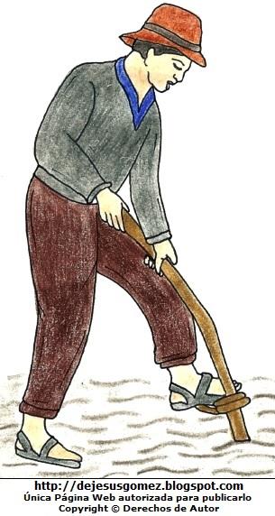 Imagen de un campesino por el Día del Campesino pintado a colores para niños  (Hombre campesino arando la tierra). Dibujo de un campesino de Jesus Gómez