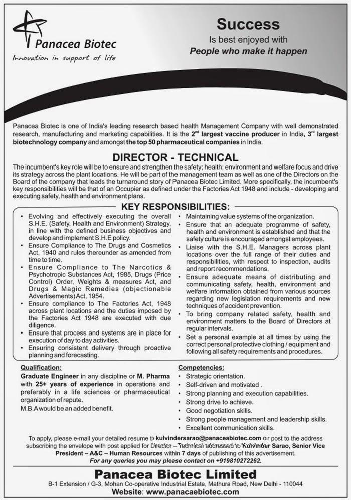 Naukri-Job-Employment: PANACEA BIOTECH LIMITED Requires DIRECTOR