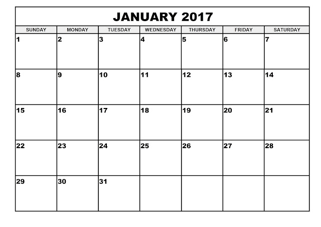 January 2017 Calendar With US Holidays