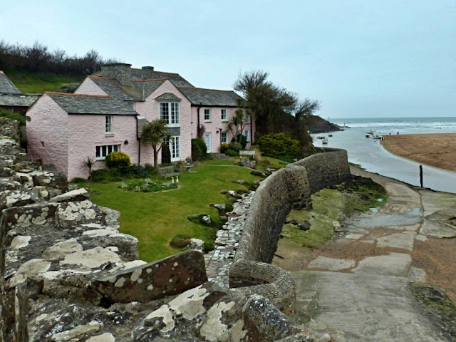 Old Cornish cottage by beach at Bude, Cornwall