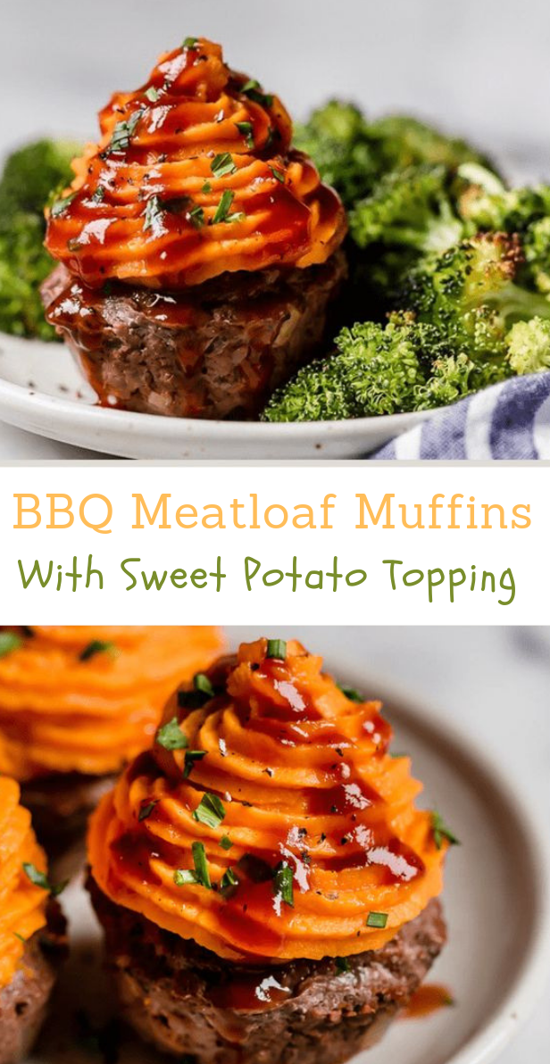 BBQ Meatloaf Muffins with Sweet Potato Topping #bbq #healthyrecipe