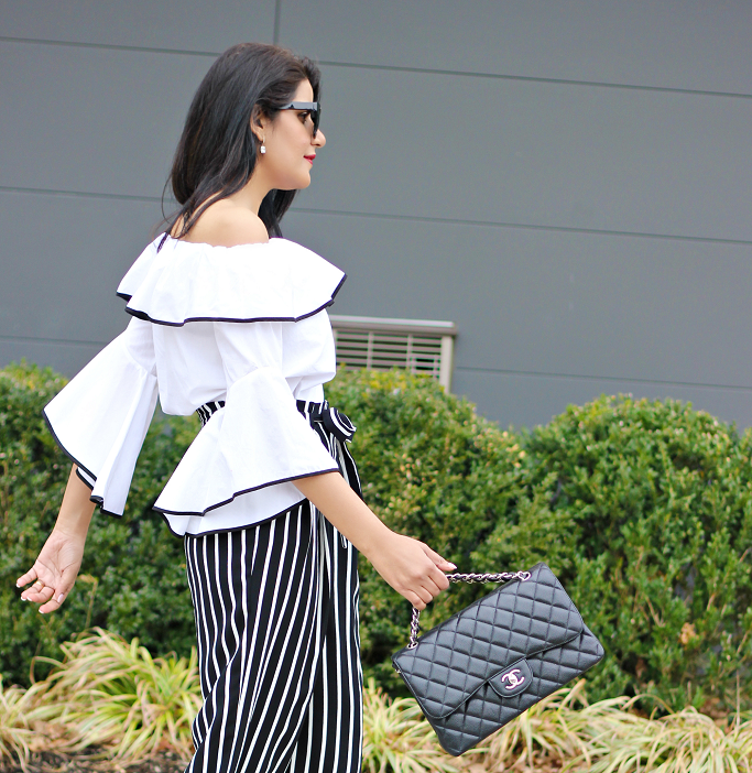 Zara Off The Shoulder Ruffled Sleeve Top, Black And White Striped Culottes, Striped Wide Leg Pants, Zara Culottes
