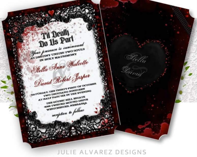 Halloween Bloody Elegant Wedding Invitations by Julie Alvarez Desings