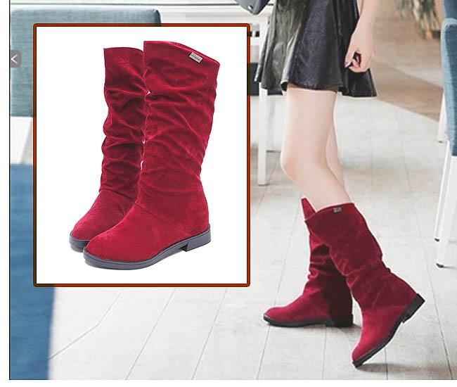 Flat model knee boots untuk sepatu kaki besar wanita