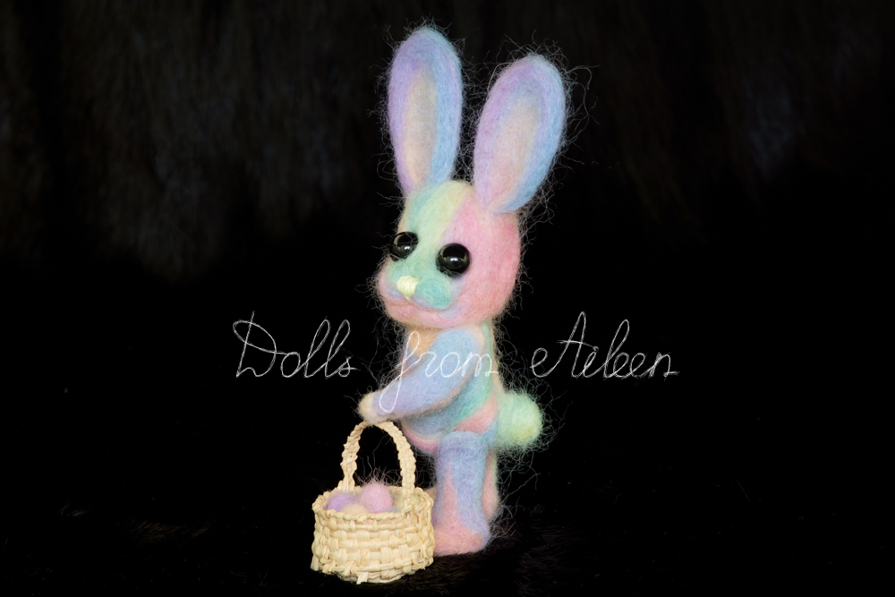 ooak needle felted Easter bunny posing for camera