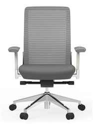 Gray Mesh Office Chair with A White Frame