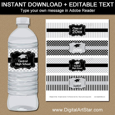 college graduation party decorations - silver and black printable water bottle labels