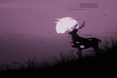 Ciervo contemplando la luna con fondo morado