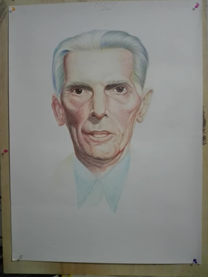 Color Pencil Sketch Quaid e Azam Muhammad Ali Jinnah