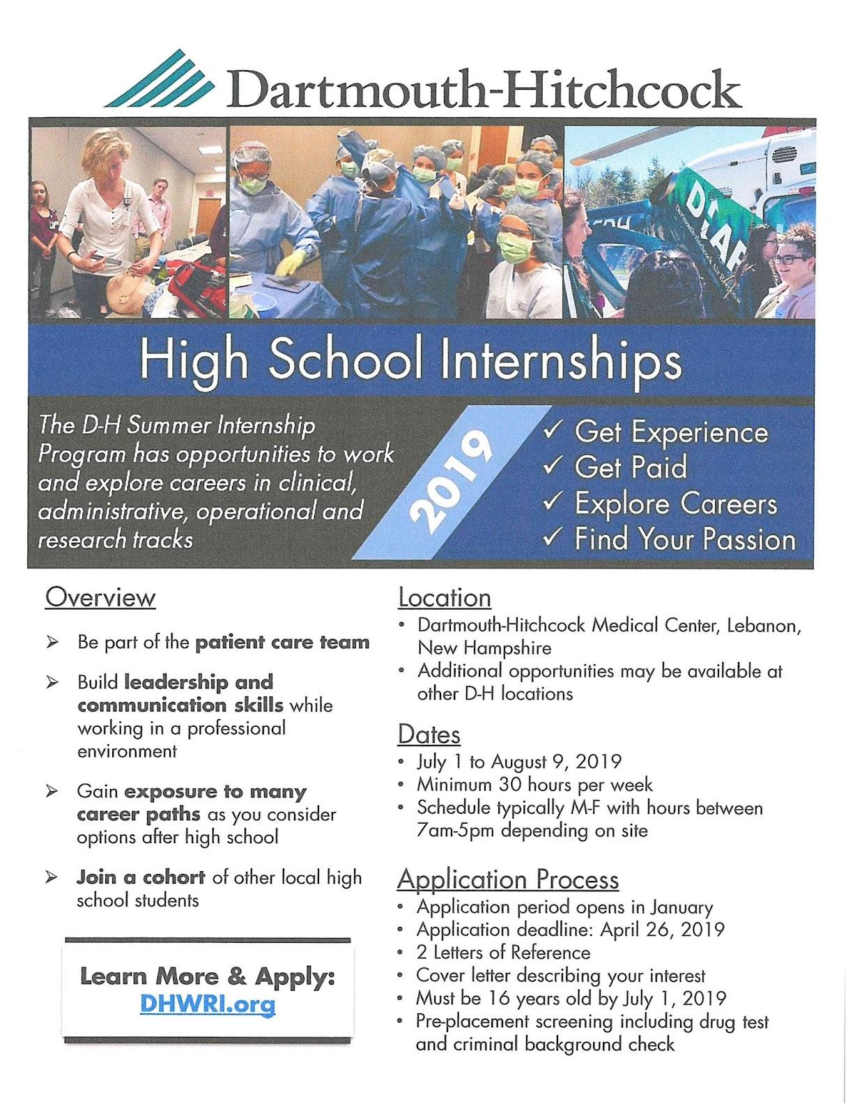 Windsor High Guidance: DHMC SUMMER HIGH SCHOOL INTERNSHIPS