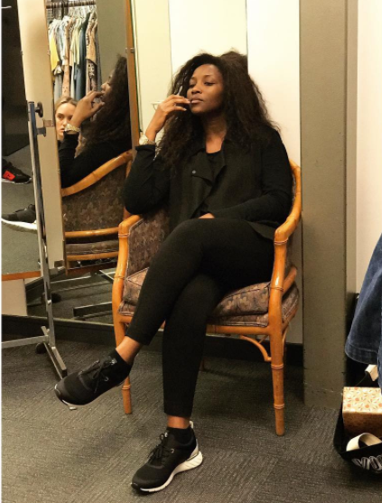 Genevieve Nnaji returns to work and she looks cute