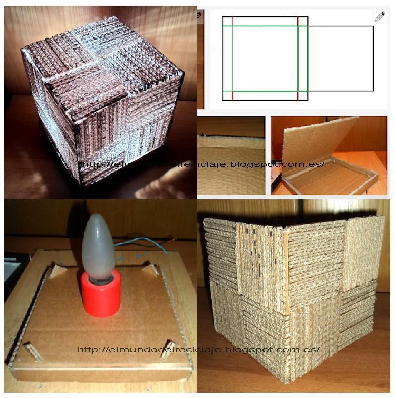 El Mundo Del Reciclaje Diy Lámpara Cubo Con Cartón Corrugado