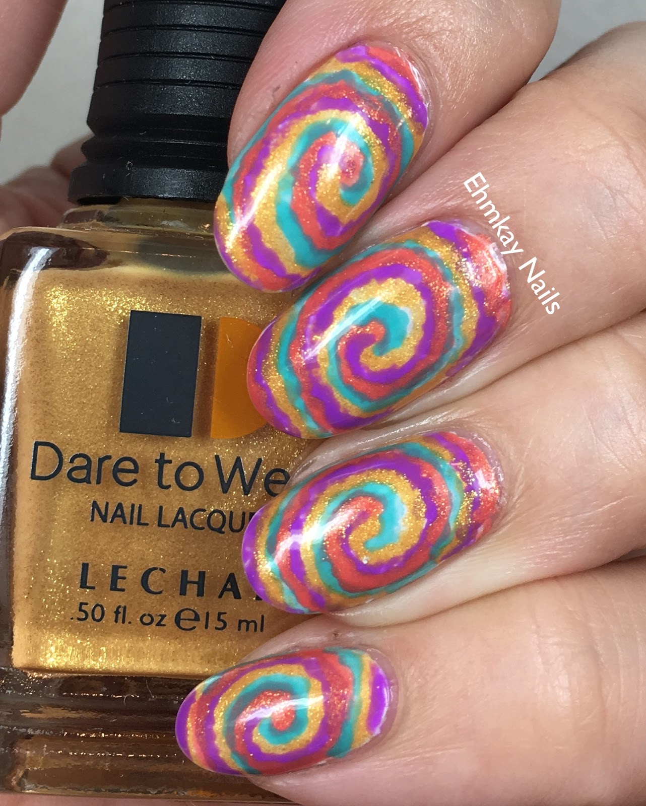 Ehmkay Nails Lechat Dare To Wear Indie Fest Tie Dye Nail Art