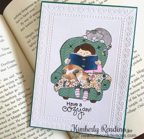Cozy Reading with Cats Card by Kimberly Rendino | A Cozy Day In Stamp set by Newton's Nook Designs #newtonsnook