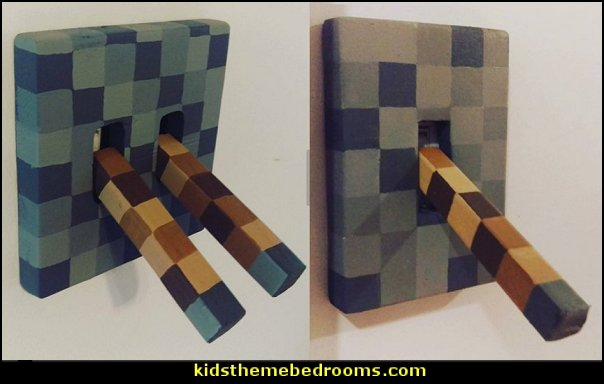 Minecraft lever light switch Minecraft style  Gamer bedroom - Video game room decor - gamer bedroom furniture - gamer wall decal stickers - Super Mario Brothers Wall Stickers - gamer bedding - Super Mario Brothers bedding - Pacman decor -  Retro Arcade bedrooms - 80s video gamers - gamer throw pllows - minecraft bedroom ideas - minecraft bedroom decor