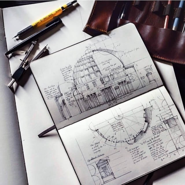 07-Notes-on-the-Pantheon-Jerome-Tryon-Moleskine-Book-with-Sketches-and-Notes-www-designstack-co