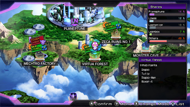 Hyperdimension Neptunia Re;birth1 Planeptune map