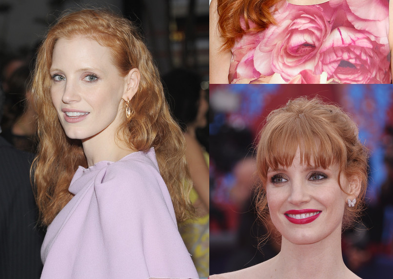 jessica chastain red carpet hair and makeup pictures