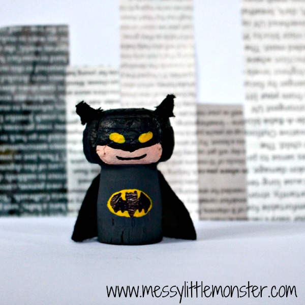 Batman figure craft idea for kids.  Great for superhero small world play.