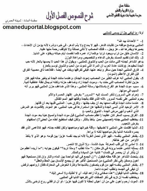 شرح النصوص في اللغة العربية للصف الثاني عشر الفصل الدراسي الاول