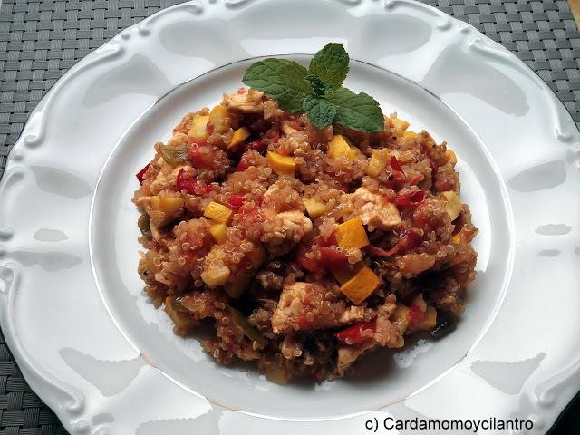 Cardamomoycilantro quinoa integral con pollo y verduras - Cocinar quinoa con verduras ...