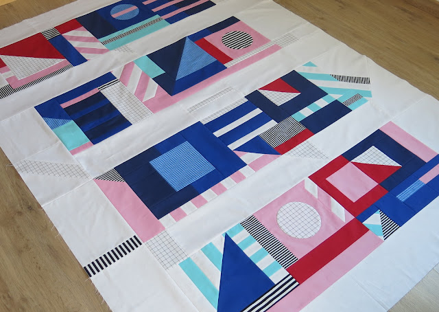 Luna Lovequilts - A finished quilt top - Inspired by Camille Walala's colours and graphic patterns